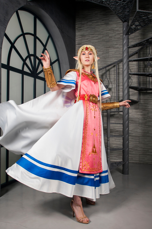Elven Dress Female cosplay costume Princess Zelda cosplay The Legend of Zelda Cosplay Zelda Jewelry Super Smash Bros Ultimate Cosplay