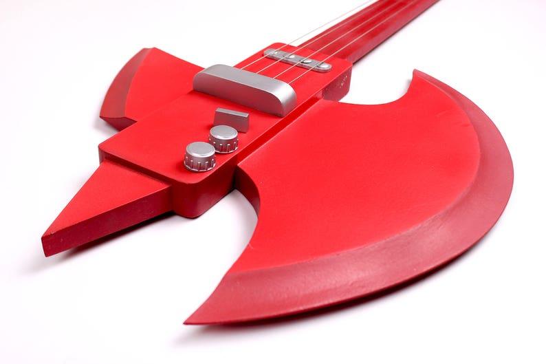Marshall Lee bass guitar, Adventure Time, cosplay replica prop, Cartoon  network, blood, red, rock, Halloween prop