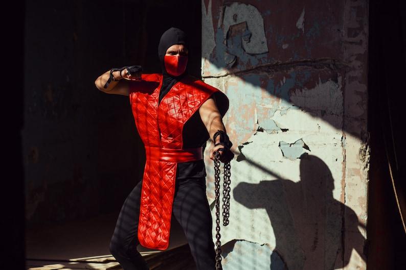 Male Cosplay Costume Mortal Kombat Ninja Cosplay Ermac Costume Red Jumpsuit Ninja Cosplay Video Game Cosplay MK Assassin Cosplay