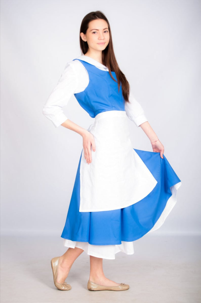Adult Belle Cosplay Costume Blue Dress The Beauty And The Etsy
