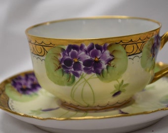 "Lovely ""Violet"" Signed Cup and Saucer"