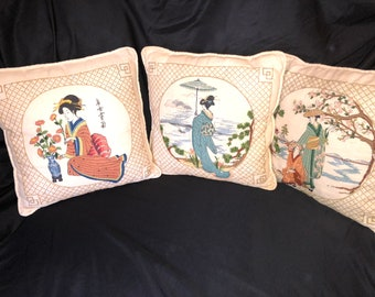 Set of 3 Embroidered Oriental Pillows