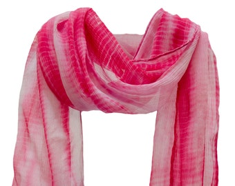 "Sheer Crinkle Chiffon ""Daphne"" Tie Dye Scarf Stole Wrap Shawl Fuchsia Pink"
