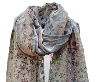 Beaded Floral Burnout Cut Velvet Shawl Wrap Stole Scarf Table Runner Steel Blue Coffee Pink