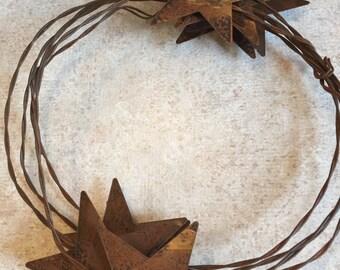 Rusty tin star garland