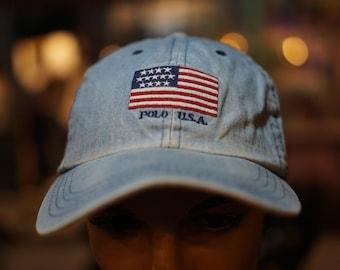 62c192f8 Vintage Polo Ralph Lauren American Flag Hat Cap Rare