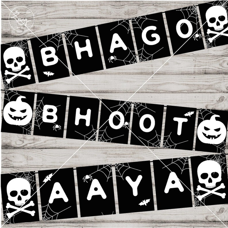 photograph about Happy Halloween Banner Printable named Satisfied Halloween Banner Printable - Bollywood Occasion - Black White - Desi Occasion Decoration - Hindi - Halloween Social gathering - Indian Photobooth