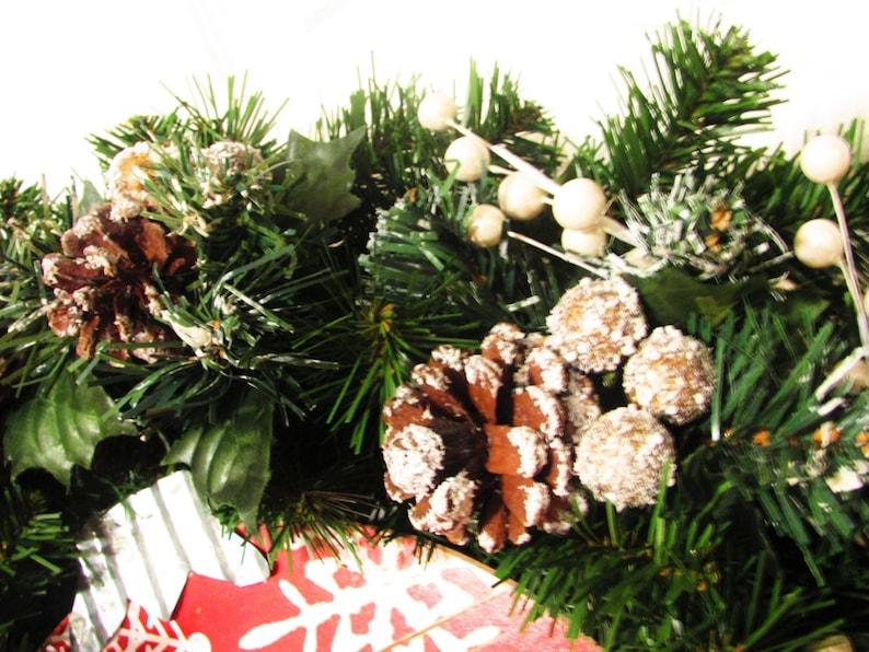 Yule Flocked Christmas Wreath Christmas Decoration Snowman| Pine Cones SALE! Let it Snow Winter Wreath Sign