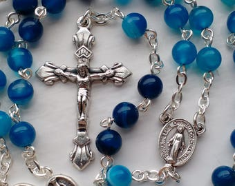 Blue Agate Rosary. Catholic Rosary. Agate Rosary Beads. Miraculous Medal Rosary Beads.