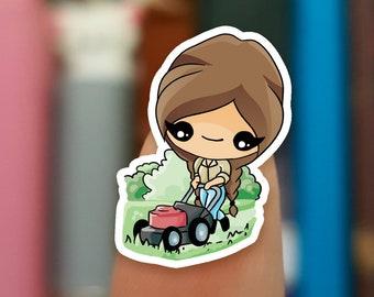 Mowing the lawn stickers / Lawnmower stickers / Gardening stickers / Planner Stickers /  JOP668