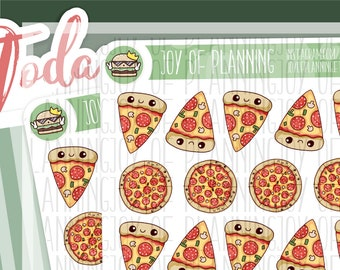 Pizza planner stickers, planning, pizza, food stickers, erin condren, Cute planner stickers