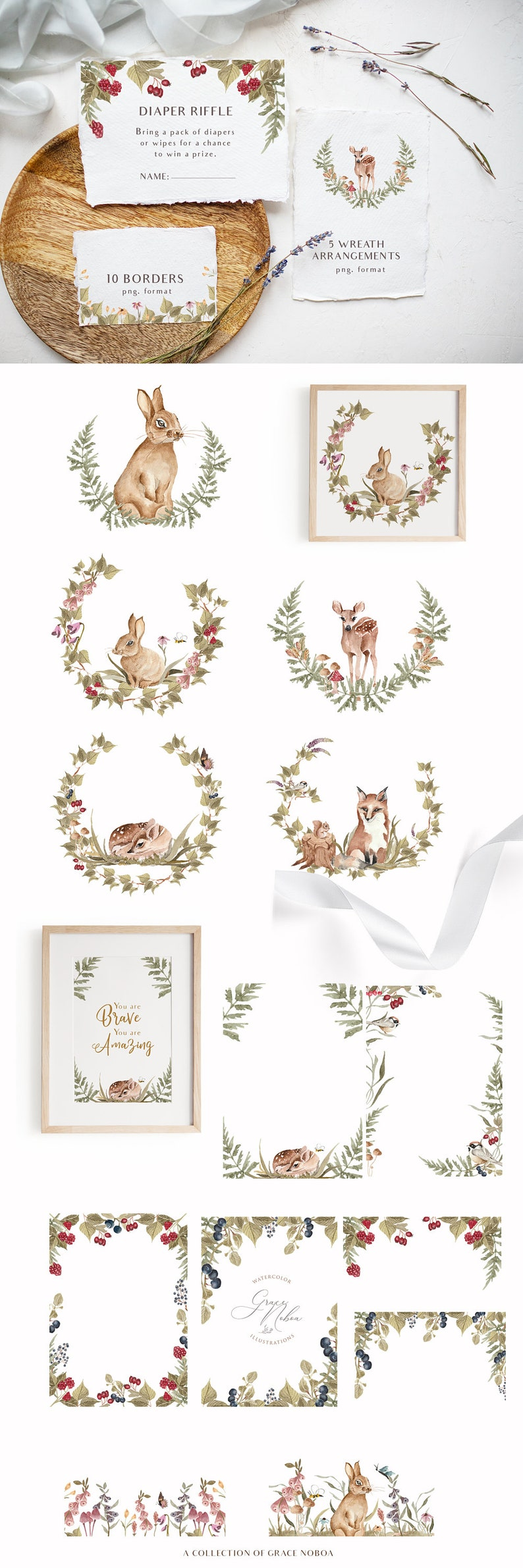 Forest cute animals clipart Woodland animal clipart Watercolor animal clipart-Baby animal clipart set Digital PNG instant download