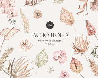 Boho floral tropical Watercolor Elements Clipart Pampas grass png dried palms Tropical Flowers Clipart wedding invites digital download PNG