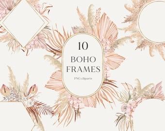 Bohemian floral clipart frame- Dried pampas grass clipart wreath- Tropical wedding invites-Boho frame Neutral decor Orchid clip art PNG