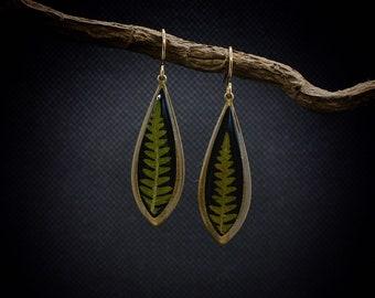Fern Earrings ~ Yellow Enamel Fern Earrings