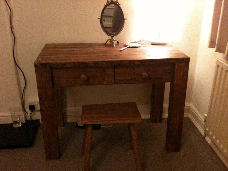 newest 46141 1f7ba Handmade Chunky Rustic Wooden Dressing Table Light Oak Finish