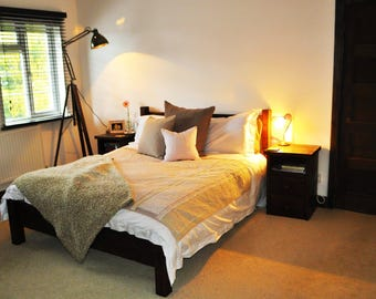 Handmade Chunky Rustic Wooden Bed Reclaimed Dark Oak Finish