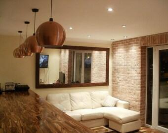 Handmade Chunky Rustic Wooden Mirror Reclaimed Timber Dark Oak Finish