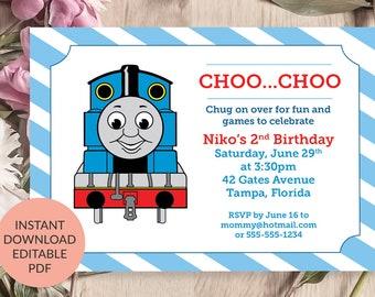 Thomas The Train Invitation Tank Engine Birthday Instant Download