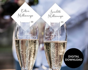 Champagne Seating Card, champagne glass escort card, champagne place card, Cake Pop Tag, Diamond Place Card Printable, Wedding Place Card