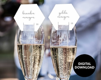 Wedding Champagne Seating Card, Calligraphy Champagne glass escort card, Hexagon Bridal Shower Thank you Tag, Baby Shower Place Card,
