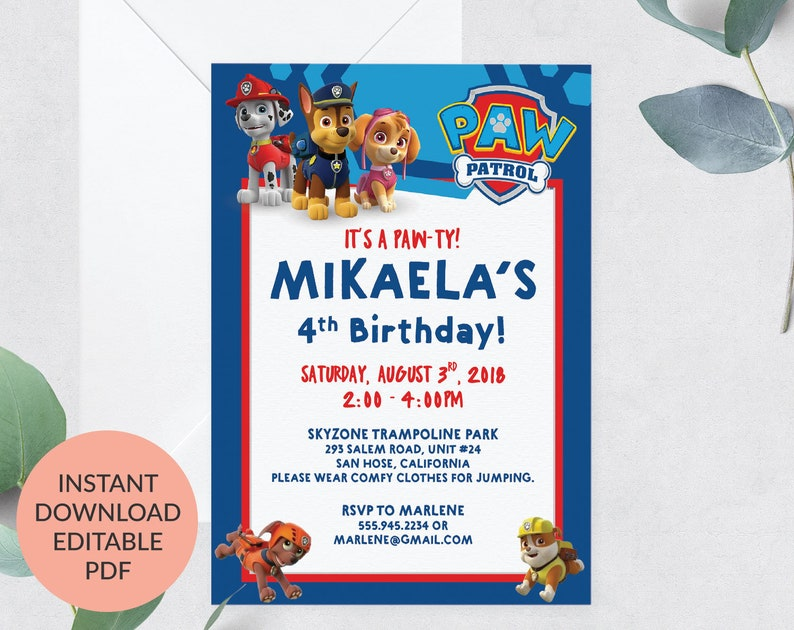 Paw Patrol Invitation Instant Download Birthday