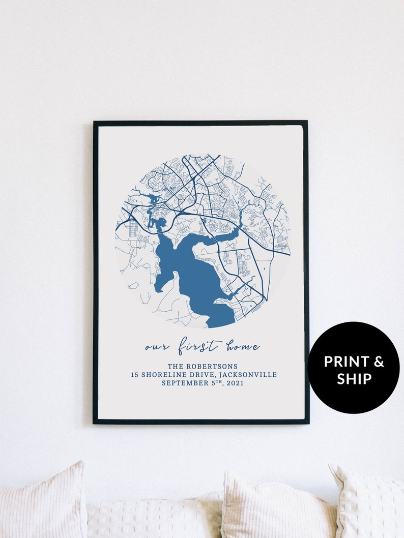 Customizable Memory Map Personalized Map Blue First House image 0