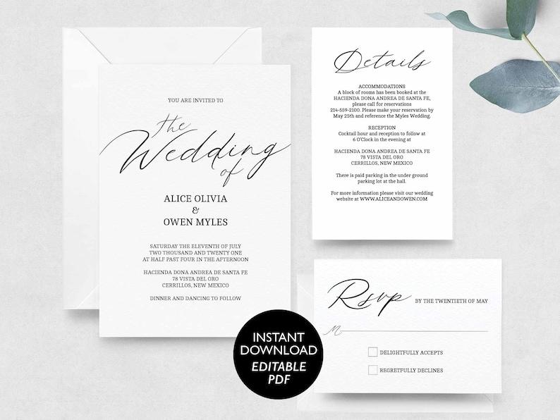 Wedding Invitation Template Download Wedding Invite Suite image 0