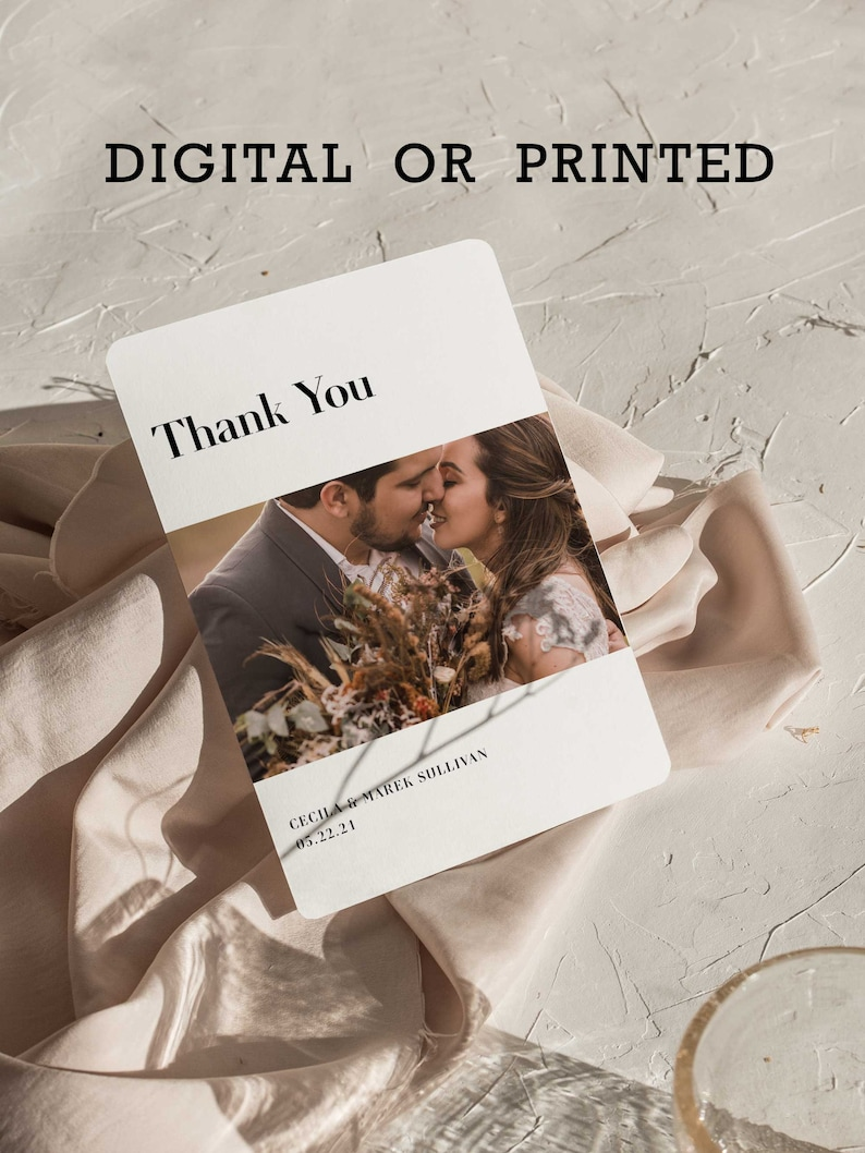 Industrial Chic Wedding Thank You Cards for Guest Gift Thanks image 0