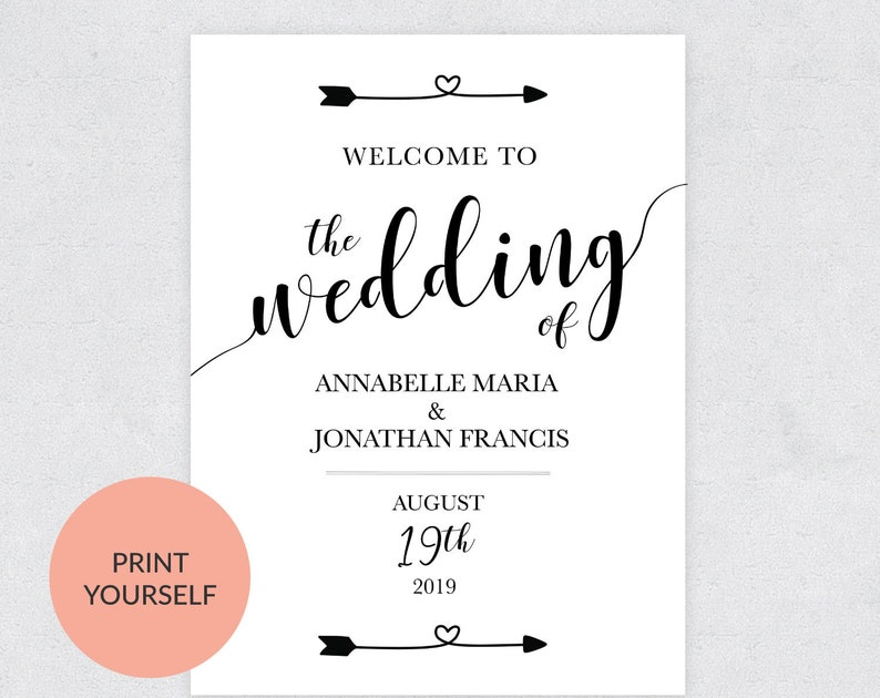 Welcome Wedding Printable Welcome Wedding Sign