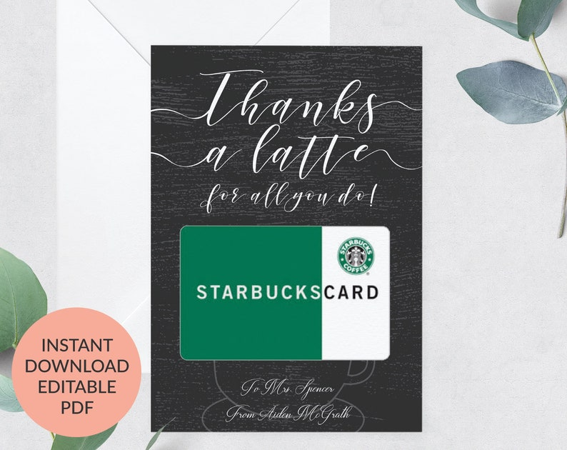 Thanks A Latte Last Day of School 5x7 CARD FOR TEACHERS