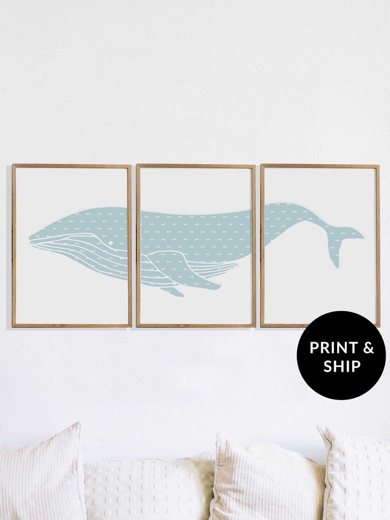 Teal Humpback Whale Print for Baby Boy Nursery Bow Tie image 0