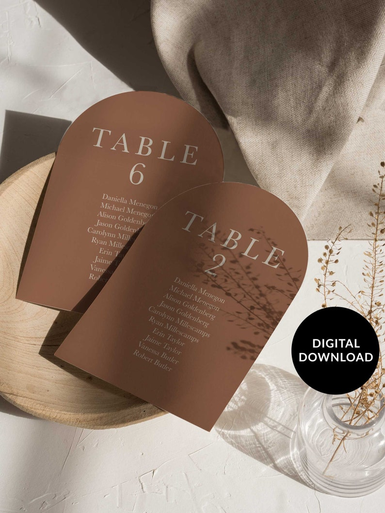 Boho Arch Wedding Table Plan Cards Arched Modern Seating image 0