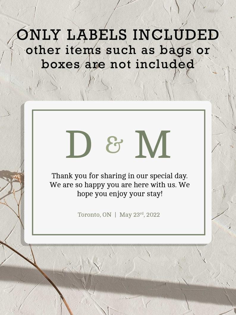 Personalized Wedding Bag Stickers Sage Green Custom Wedding image 0