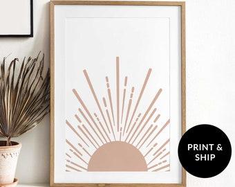 Dusty Pink Half Sun Wall Art Poster, Dusty Rose Boho Wall Print, Mauve Mid-Century Modern Sunrise Poster, Cute Half Sun Print Girl, Blush