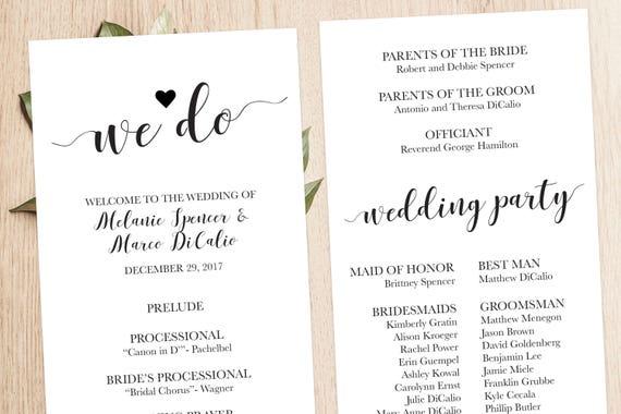 wedding ceremony booklet printable modern wedding program