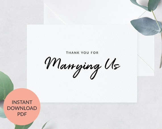 Thank You For Marrying Us Card Officiant Thank You Card Printable Officiant Card Card To Priest Card To Judge Isp104