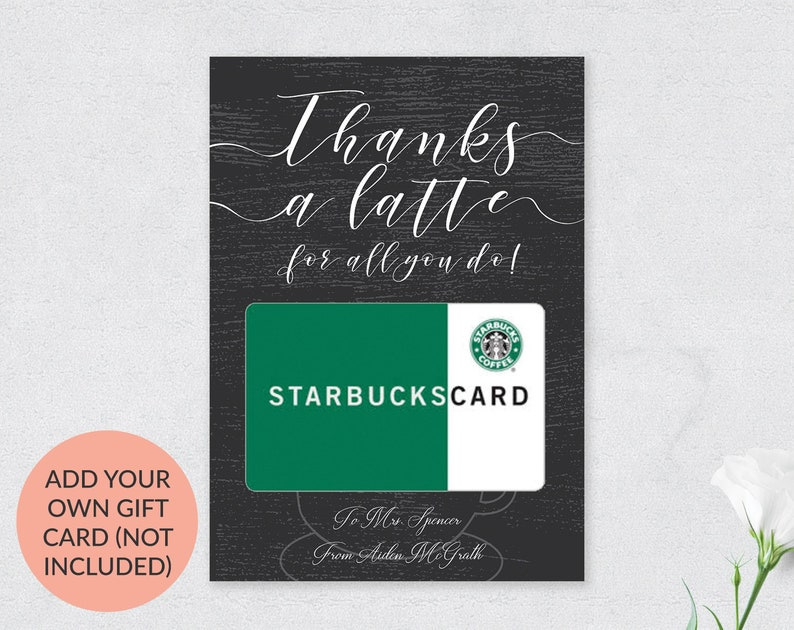 Teacher Easter Gift Card Holder, Chalkboard Thanks a latte Card, Thanks a  latte Card, Printable Thank you card