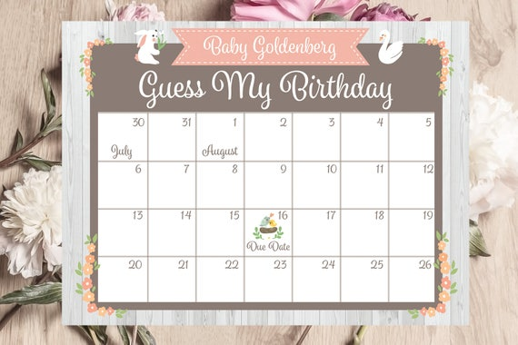 Baby Shower Calendar Printable Birthday Predictions Guess My Etsy