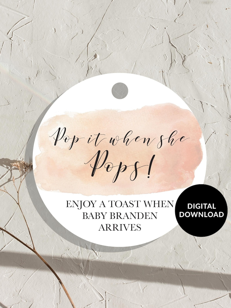 Pink Watercolor Pop it When She Pops Tags Baby Shower Favor image 0
