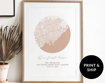 Peach Personalized Memory Map, First House Poster Gift, Customizable First Home Map, Housewarming Gift, First Home Map Print, Map Wall Art