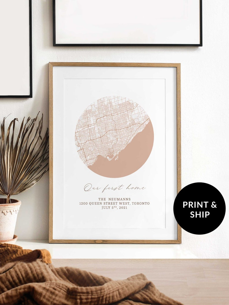 Peach Personalized Memory Map First House Poster Gift image 0