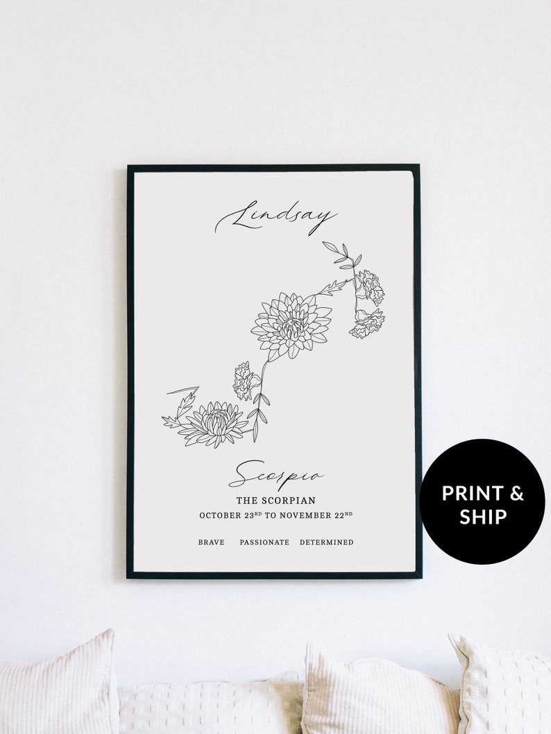 October and November Birth Month Flower Print Personalized image 0