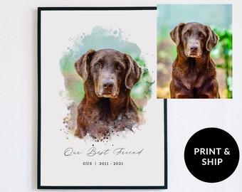 Custom Watercolor Portrait, Watercolor Portrait From Photo, Pet Memorial Watercolor Painting, Dog Memoriam Print, Personalized Animal gift