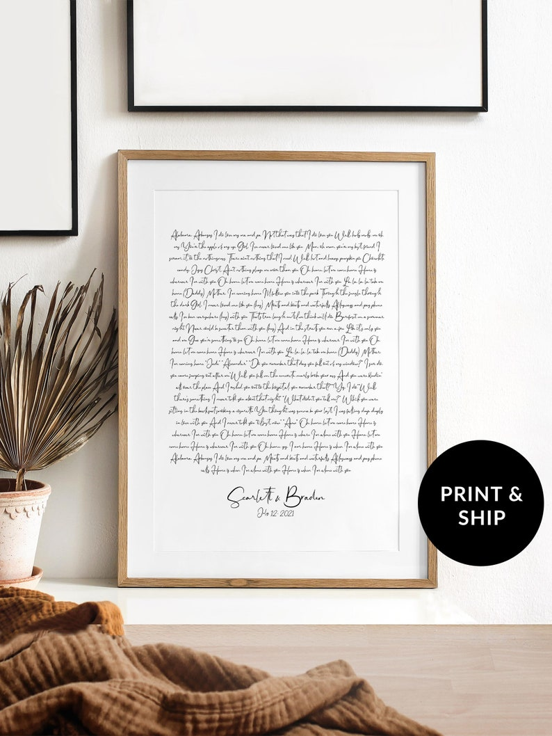 Personalized Wedding Song Lyrics Print for 1st anniversary image 0