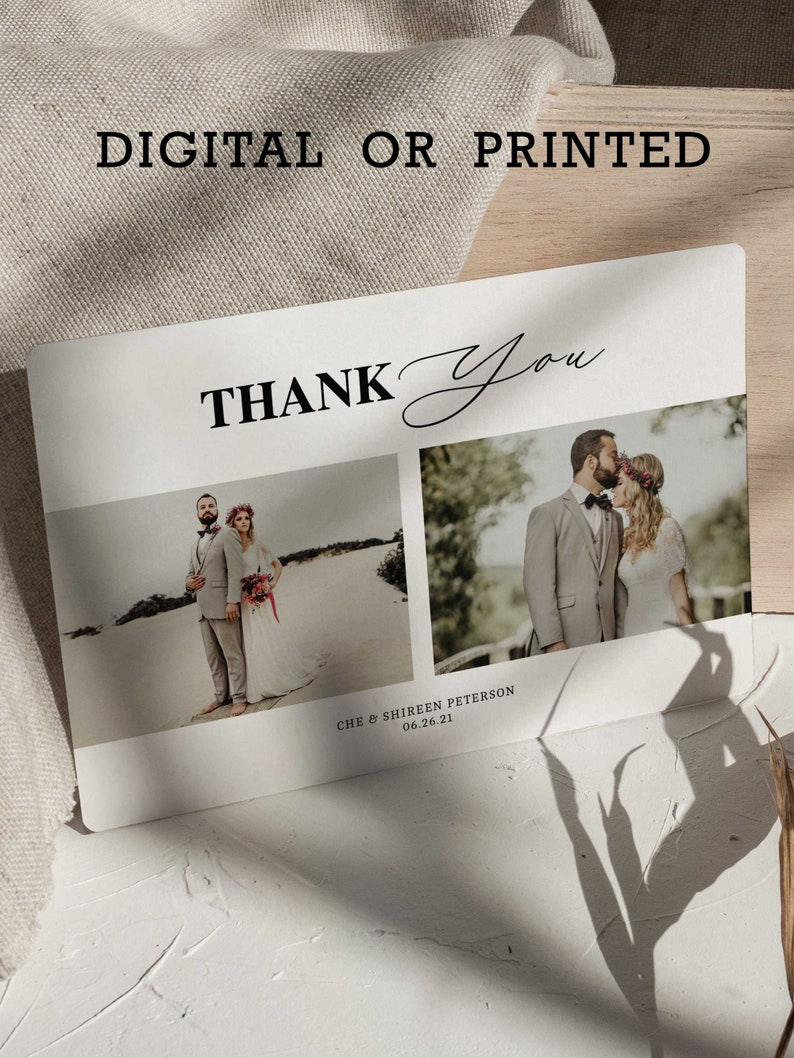 Wedding Thank You Card with 2 photos to send to guests image 0