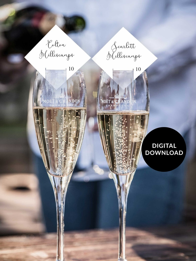 Champagne Seating Card champagne glass escort card champagne image 0
