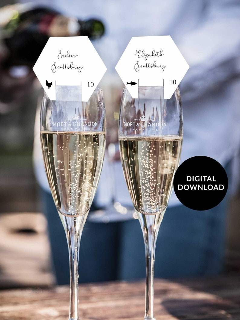 Hexagon Wedding Champagne Seating Card Calligraphy Champagne image 0