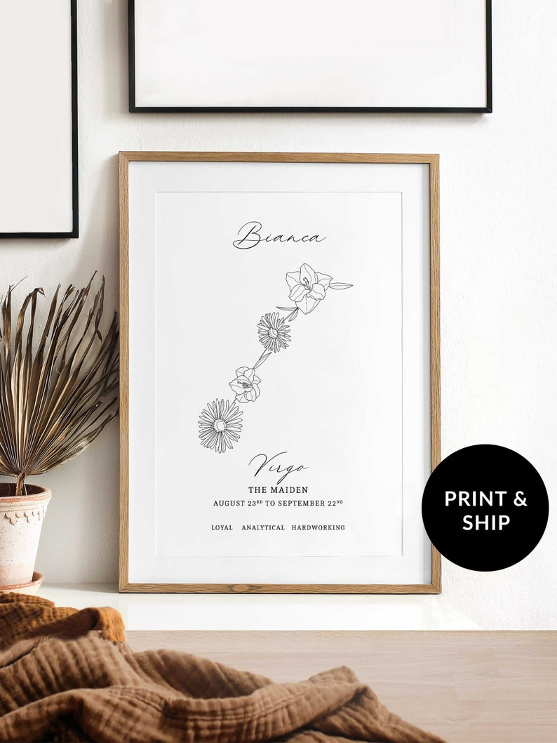 August and September Birth Month Flower Print Personalized image 0