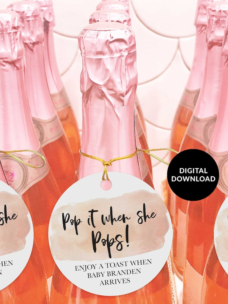 Blush Watercolor Pop it When She Pops Tags Baby Shower Favor image 0